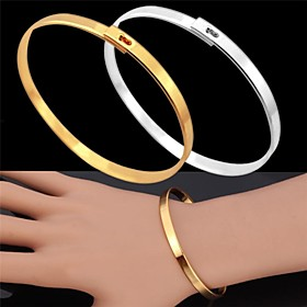 U7Vintage Bracelet for Men 18K Real Gold Platinum Plated Simple Bangle Fashi..