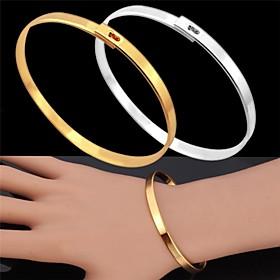 U7Vintage Bracelet for Men 18K Real Gold Platinum Plated Simple Bangle Fashi..