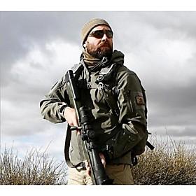 Men's Hunting Jacket Keep Warm Solid Winter Jacket Hoodie Jacket Softshell Jacket Top for Camping / Hiking Black Army Green Grey Khaki S 2555644