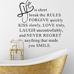 Wall Stickers Wall Decals, Life is Short English Words  Quotes PVC Wall Stickers