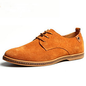 Men's Suede Shoes Suede Spring / Fall British Oxfords Brown / Green / Khaki / Lace-up / Comfort Shoes / EU40