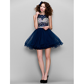 TS Couture Prom Dress - Sparkle Shine A-line High Neck Short / Mini Tulle with Beading plus size,  plus size fashion plus size appare