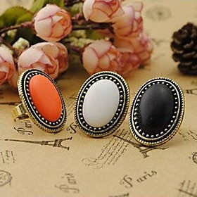 Women's Statement Ring Alloy Ladies Vintage Fashion Elegant Ring Jewelry White / Black / Orange For Party Daily Casual Cosplay Costumes Adjustable