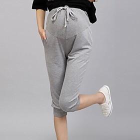 stretchalble maternidad recortada pantalones capris casuales pantalones de embarazo verano