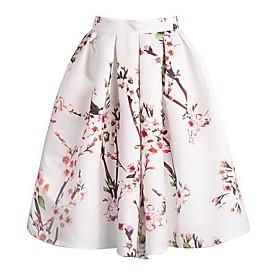 Image of Women's Floral Print Knee-length Vintage Skirts, Satin Micro-elastic