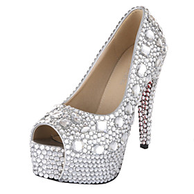 Women's Shoes VELCANS Platform Peep Toe Stiletto Heel Pumps with Rhinestone Wedding Shoes