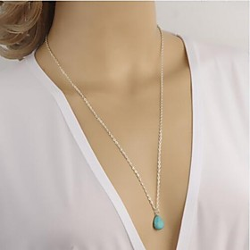 Women's European Style Simple Droplets Turquoise Tassel Long Necklace