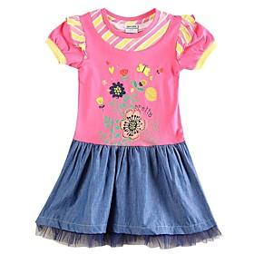 robes d'hiver le parti de fille avec une robe d'impression de fleurs pour les enfants robes des filles (aléatoire imprimé)