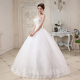 Ball Gown Sweetheart Floor Length Tulle Wedding Dress with Beading Appliques by QQC Bridal