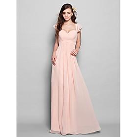 A-Line Sweetheart Floor Length Chiffon Bridesmaid Dress with Draping Ruffles Ruching by LAN TING BRIDE plus size,  plus size fashion plus size appare
