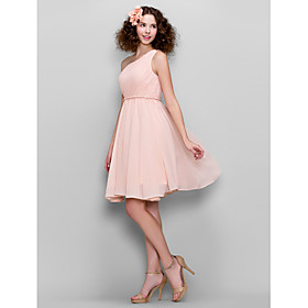 A-Line One Shoulder Knee Length Chiffon Bridesmaid Dress with Side Draping by LAN TING BRIDE