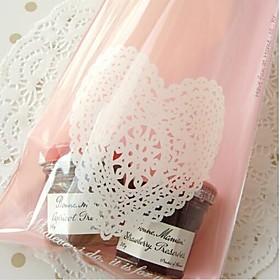 50 Piece/Set Favor Holder Plastic Favor Bags Pink Heart Lace 2708945