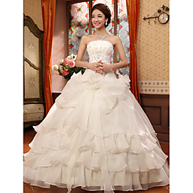 Ball Gown Strapless Floor Length Organza Wedding Dress with Beading Appliques Flower by JUEXIU Bridal