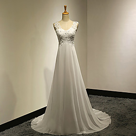 A-Line V Neck Sweep / Brush Train Chiffon Beaded Lace Custom Wedding Dresses with Appliques Button by LAN TING Express plus size,  plus size fashion plus size appare