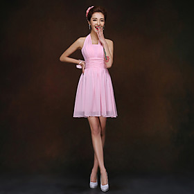 Sheath / Column Halter Short / Mini Chiffon Bridesmaid Dress with Ruching by Yaying