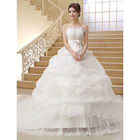 Ball Gown Strapless Cathedral Train Organza Wedding Dress by Embroidered bridal