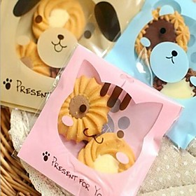 50pcs Cute Cat Cookie Bakery Candy Biscuit Jewelry Gift Plastic Packaging Bag Baby Shower Birthday Decorations