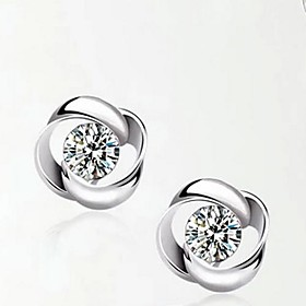 925 Sterling Silver Rotation Shaped Earrings