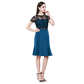 Sheath / Column Jewel Neck Knee Length Cotton Lace Cocktail Party Dress with..