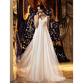 Sheath/Column Spaghetti Straps Floor-length Chiffon Wedding Dresses