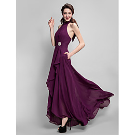 A-Line High Neck Asymmetrical Chiffon Bridesmaid Dress with Bow(s) Draping P..