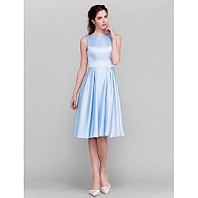 A-Line Princess Bateau Neck Knee Length Satin Bridesmaid Dress with Bow(s) Pockets Sash / Ribbon by LAN TING BRIDE plus size,  plus size fashion plus size appare