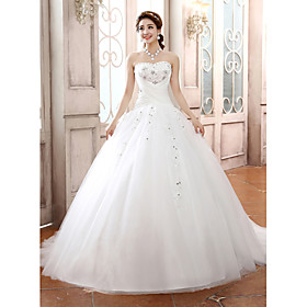Ball Gown Strapless Court Train Tulle Wedding Dress with Beading by Embroidered bridal