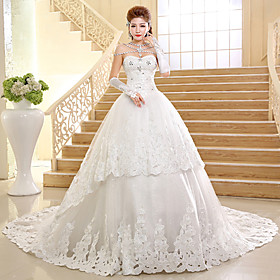 Ball Gown Wedding Dress Sparkle Shine Cathedral Train Sweetheart Lace with Appliques Beading
