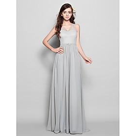Lanting Floor-length Chiffon Bridesmaid Dress - Silver Plus Sizes / Petite S..
