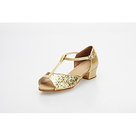 Ballroom Practice Shoes Sparkling Glitter Upper Latin Dance Shoes for Women and Kids More Colors