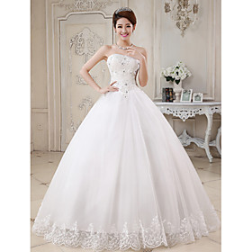 Ball Gown Sweetheart Floor Length Tulle Wedding Dress with Beading by Embroidered bridal