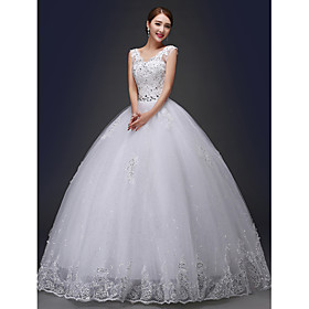 Ball Gown Wedding Dress Sparkle Shine Floor-length V-neck Lace with Appliques Beading Sash / Ribbon