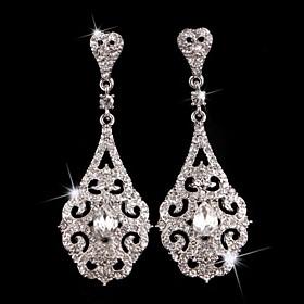 Vintage Party 1930's Wedding Princess Birde Crown Rhinestone Crystal Long Silver Earring