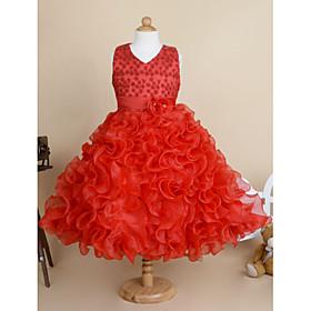 Flower Girl Dress Ball Gown Knee-length - Cotton / Tulle Sleeveless V-neck with