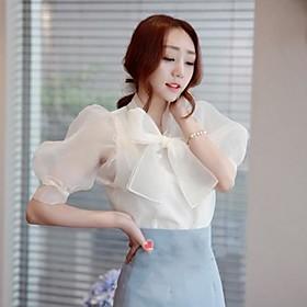 Image of Women's Casual Micro-elastic ½ Length Sleeve Regular Blouse (Chiffon) (More Colors)