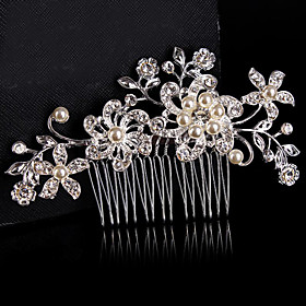 Vintage Wedding Bride Flower Austria Rhinestone Pearl Flower Silver Combs Hair Accessories plus size,  plus size fashion plus size appare