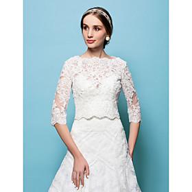 Wedding Wraps Capelets Lace White/Beige