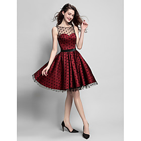 TS Couture Cocktail Party / Company Party Dress Plus Size / Petite A-line Jewel Knee-length Satin / Tulle with Sash / Ribbon plus size,  plus size fashion plus size appare