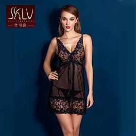 Women Lace/Polyester Lace Lingerie/Ultra Loose Plus Size Sexy Nightwear
