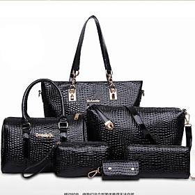 Women Patent Leather Barrel Shoulder Bag / Tote - Blue / Red / Black