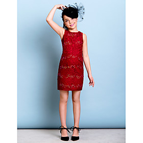 Lanting Bride Short / Mini Lace Junior Bridesmaid Dress Sheath / Column Jewel with Beading / Sequins