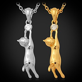 U7 Hot Lovely Girl's 18K Gold Plated Austrian Rhinestone Cute Kitty Cat Necklace Pendant Jewelry for Women High Quality