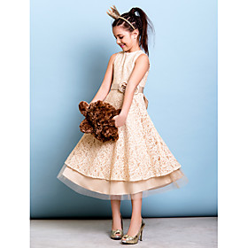 A-Line Jewel Neck Tea Length All Over Floral Lace Junior Bridesmaid Dress with Bow(s) Sash / Ribbon Flower by LAN TING BRIDE