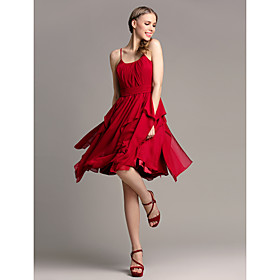 Lanting Bride Knee-length Chiffon Bridesmaid Dress - A-line Spaghetti Straps Plus Size / Petite with Cascading Ruffles plus size,  plus size fashion plus size appare