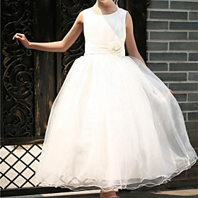 Ball Gown Princess Tea Length Flower Girl Dress - Tulle Sleeveless Scoop Neck by YDN