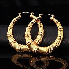 U718K Real Gold Platinum Plated Big Bamboo Hoop Earrings for Women Fashion J..