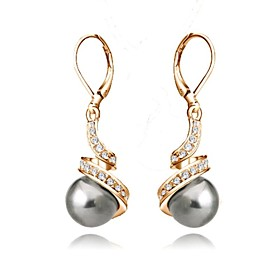 Women's Crystal Tahitian pearl Drop Earrings Crystal Imitation Pearl Gold Plated Earrings Ladies Basic Jewelry White / Black For Wedding Party Daily Casual Mas