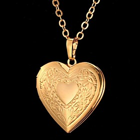 U7 Heart Photo Locket Necklace Pendant 18K Real Gold Plated Choker Necklace Charms Floating Lockets Fashion Jewelry