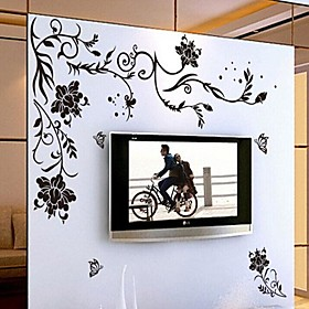 Environmental Removable Black Rattan PVC Wall Sticker