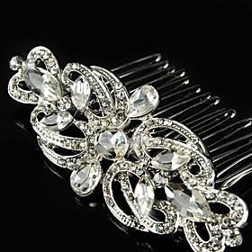 Vintage Wedding Party Bride Flower Austria Crystal Silver Combs Hair Accessories plus size,  plus size fashion plus size appare